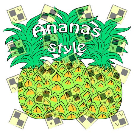 ananas style vector illustration. pineapple summer time poster.