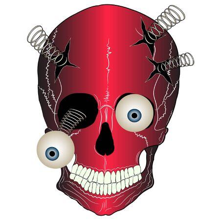 skull cartoon vector illustration. skull vector illustration for t-shirt print.