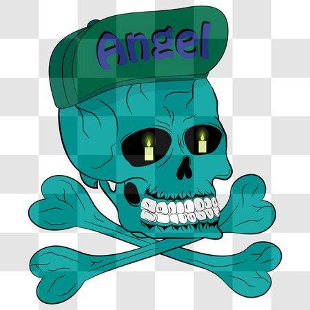 skull and bones with cap. cartoon vector illustration. skull and bones illustration for t-shirt print. Stock Illustratie