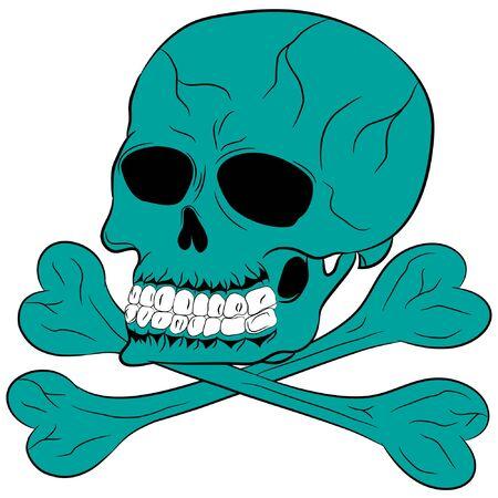 skull and bones cartoon vector illustration. skull and bones illustration for t-shirt print.