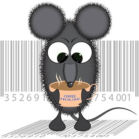 mouse with a Cup of coffee. cartoon vector illustration. rat with a Cup of coffee illustration. Illustration