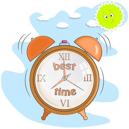 alarm clock in cartoon style vector illustration. wake-up call, alarm clock is ringing.