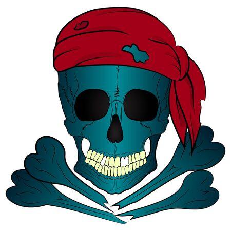 pirate skull and bones bandana vector illustration. t-shirt art.