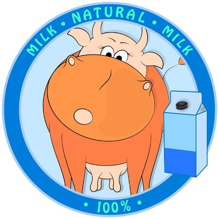 cartoon cow and package of milk on blue background. vector illustration.