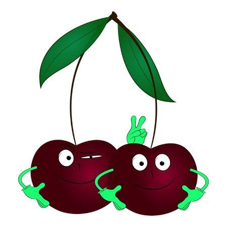 two cherries cartoon vector illustration
