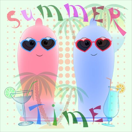 two condoms summer time poster vector cartoon illustration. two condoms on the beach cartoon vector illustration. hello summer vector illustration. palm trees and sea cartoon vector illustration.