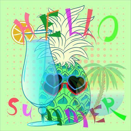 summer time vector poster with pineapple. hello summer vector illustration. holidays vector poster. Illusztráció
