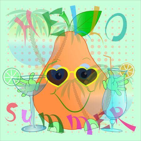 hello summer pear cartoon vector illustration. summer time cartoon vector illustration with pear. palm trees and sea cartoon vector illustration. its summer vector illustration.