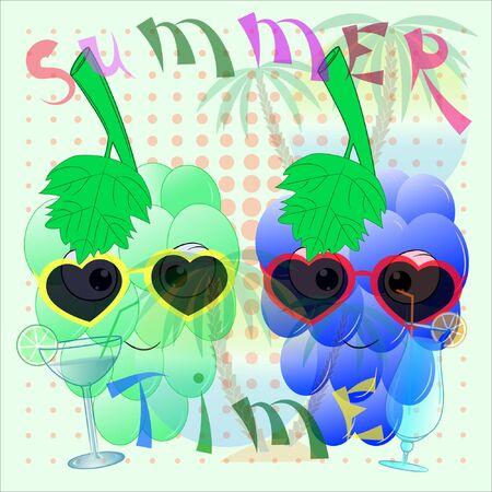 grape cartoon summer time poster. hello summer cartoon vector illustration with grape. palm trees and sea cartoon vector illustration. bunch of grapes on the beach. its summer vector illustration. Illusztráció