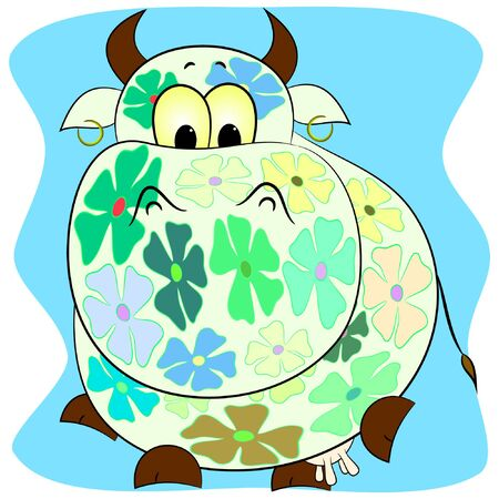 funny cow cartoon vector illustration. 向量圖像