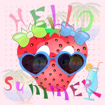 cartoon summer poster with strawberry. hello summer poster with strawberry. strawberry cartoon vector illustration. summer time cartoon poster with strawberry.