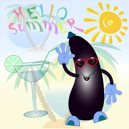hello summer cartoon eggplant poster. summer time cartoon vector illustration. eggplant cartoon vector illustration.palm trees and sea cartoon vector illustration.