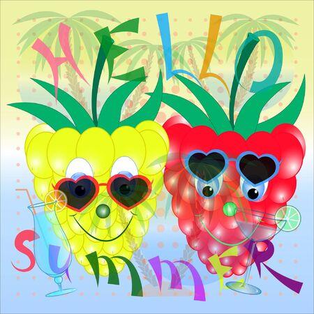 Raspberry hello summer cartoon poster. summer time cartoon poster with raspberry. raspberry cartoon vector illustratioon. its summer flyer vector illustration.