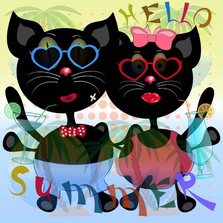 two cats on the beach cartoon vector illustration. hello summer vector poster with cats. summer time cartoon vector illustration with cats. palm trees and sea vector illustration. Ilustração