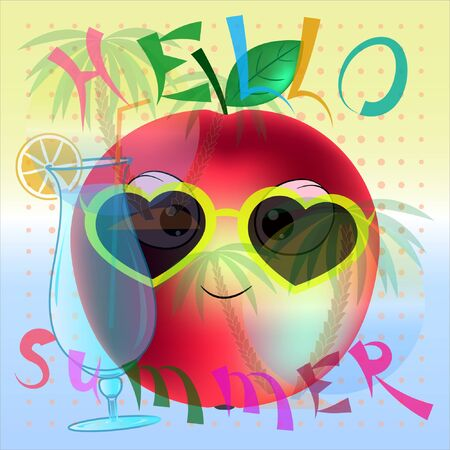 hello summer apple cartoon poster. summer time poster vector illustration with apple. palm trees and sea cartoon vector illustration.