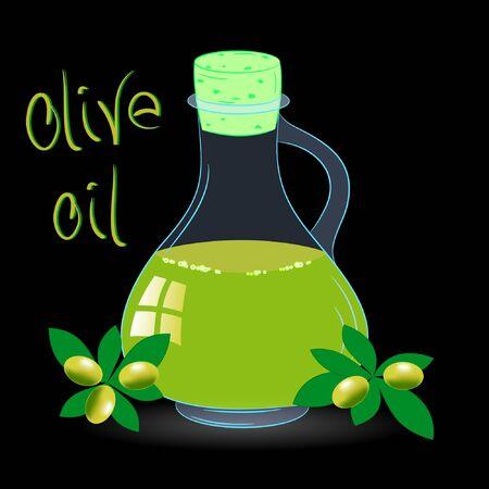 olive oil bottle vector illustration on a black background
