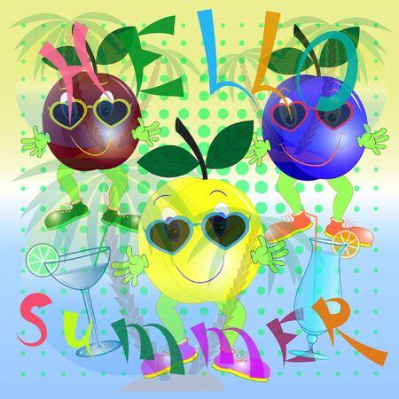 cartoon poster hello summer with plum. summer time flyer with cartoon plum. plum cartoon vector illustration.