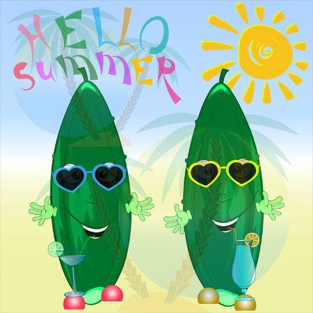 hello summer cucumber cartoon illustration. summer time cartoon vector illustration. its summer cartoon illustration.