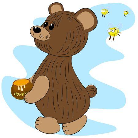 bear bees and honey cartoon vector illustration. Illustration