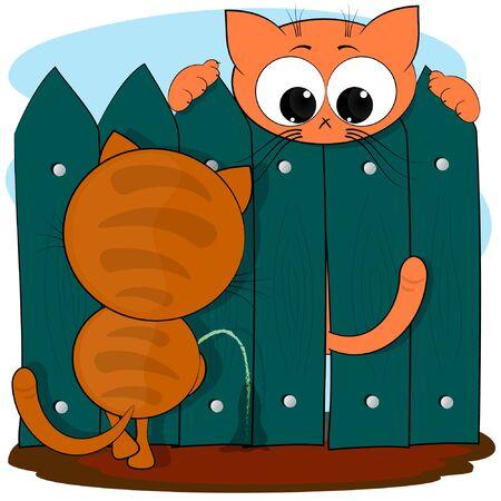 cute cartoon vector illustration. Two cats. cartoon cute comic vector illustration. Illustration