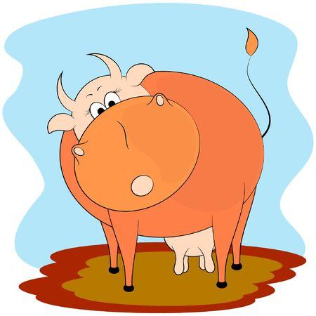 cute cartoon vector illustration. cute cow cartoon vector illustration.