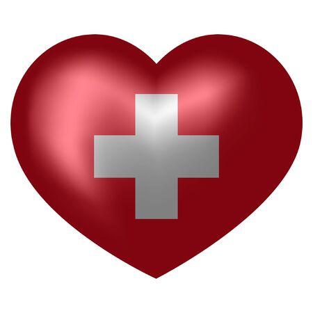 flag of Switzerland in heart shape. vector illustration.
