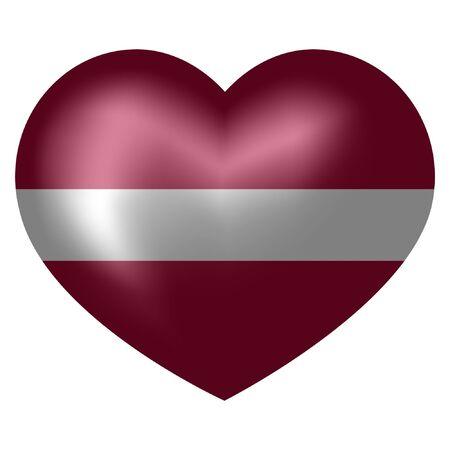 flag of Latvia in heart shape. vector illustration.
