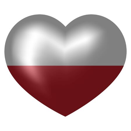 flag of Poland in heart shape. vector illustration.