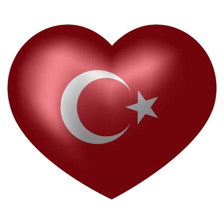 Flag of Turkey in heart shape. 3d vector illustration.