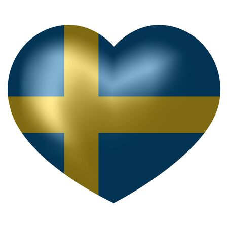 flag of Sweden in heart shape. vector illustration.