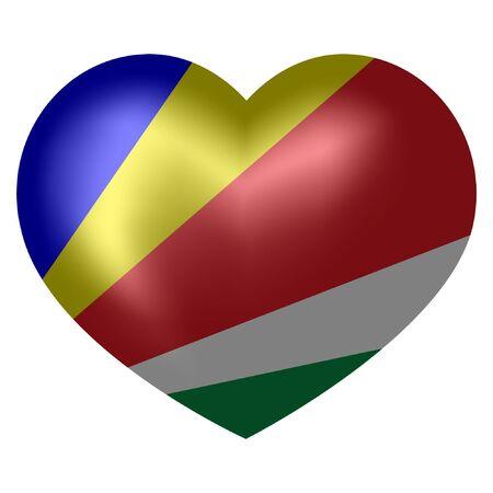 Seychelles Flag in heart shape. vector illustration.