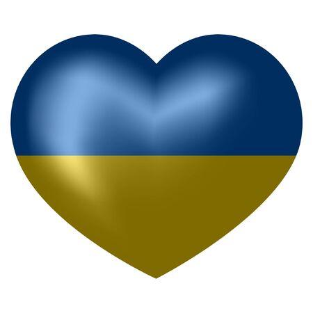 flag of Ukraine in heart shape. vector illustration. Ilustração