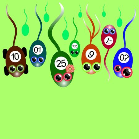 colorful cartoon sperm compete vector illustration
