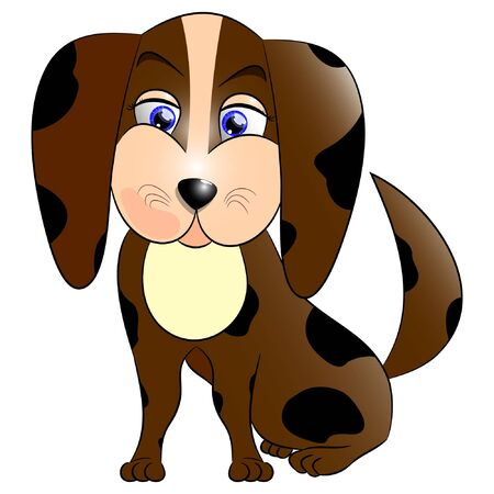 little brown dog isolated vector illustration.