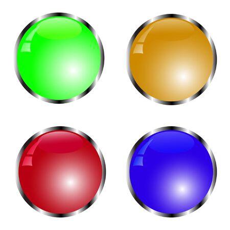 ensemble d'illustration vectorielle de bouton coloré