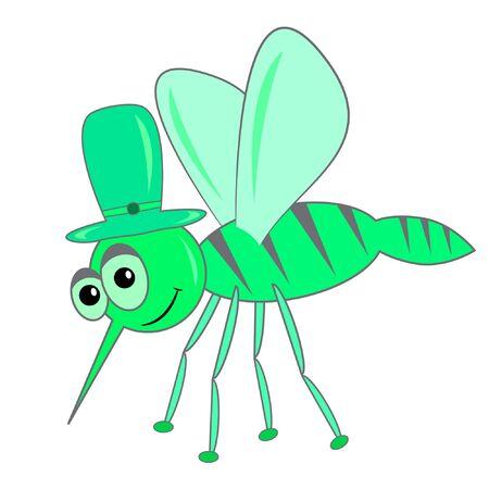 mosquito cartoon character vector illustration