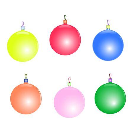 zestaw pięknych kolorowych zabawek świątecznych