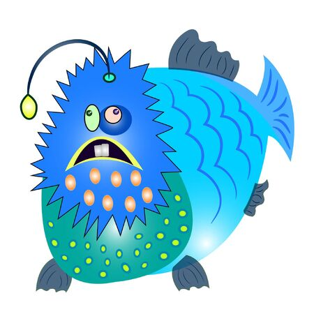 Fish monster cartoon vector illustration