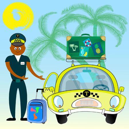 taxista invitando al pasajero a subir al coche. sonriente joven taxista cerca de su coche. servicio de taxi. ilustración vectorial.