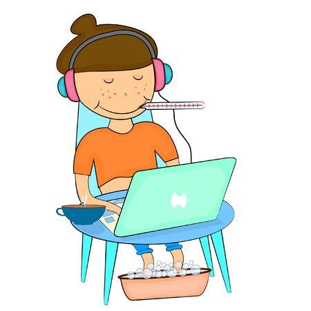 freelancer sitting at the computer. cartoon vector illustration. Foto de archivo - 137602065