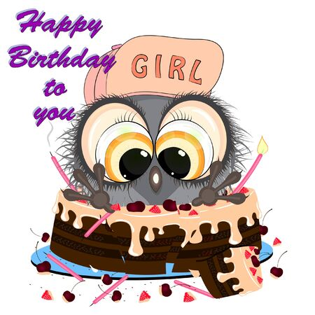 owl sitting in a cake. birthday greeting card. vector illustration on a white background.