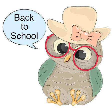 smart owl with text back to school. cartoon vector illustration on a white background. Illustration
