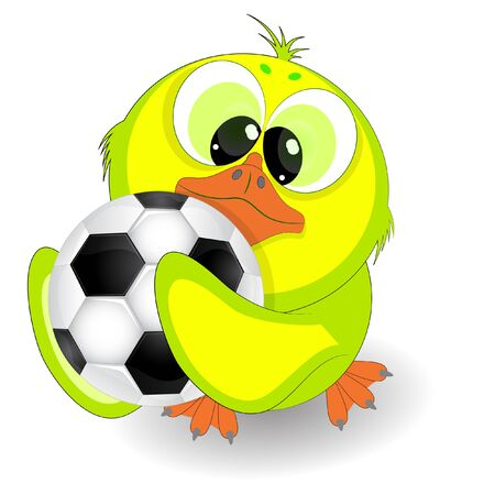 Little duckling with a soccer ball vector illustration on a white background.