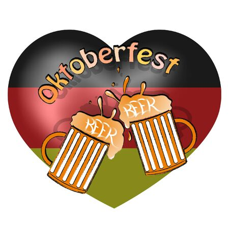 beer mugs on the background of the German flag. oktoberfest vector illustration.