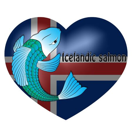 icelandic salmon on the background of the flag. vector illustration. Иллюстрация