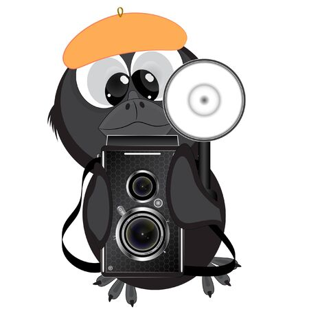 little raven with a camera. cartoon vector illustration on a white background. Иллюстрация