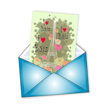 an envelope with the postcard. i love paris. vector illustration on a white background. Illustration
