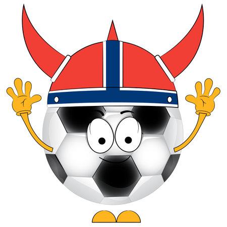 Cartoon soccer ball. A football fan. The Norwegian national team. Vetores