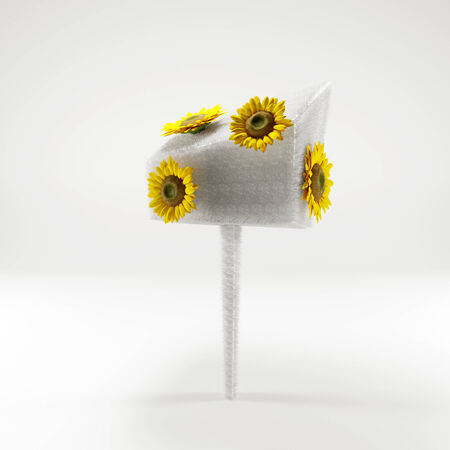 3D yellow sunflowers on white tree on white background photo