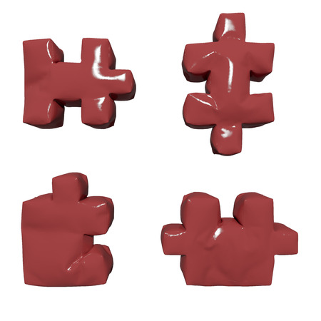 3 D glossy red puzzles on isolated background photo